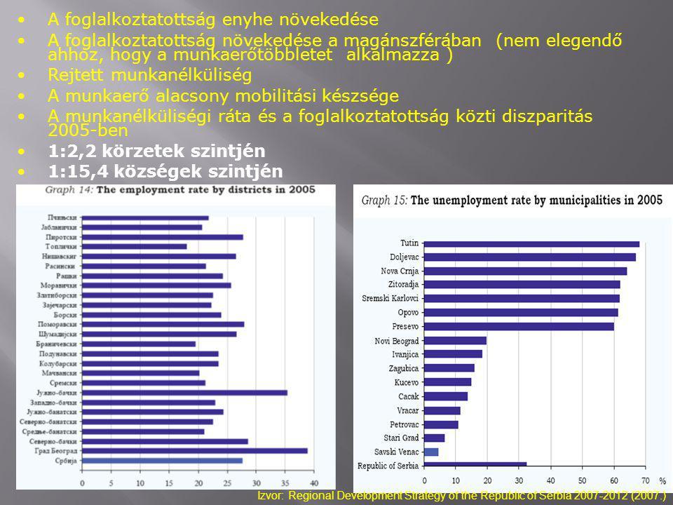 A foglalkoztatottság enyhe növekedése A foglalkoztatottság növekedése a magánszférában (nem elegendő ahhoz, hogy a munkaerőtöbbletet alkalmazza ) Rejtett munkanélküliség A munkaerő alacsony mobilitási készsége A munkanélküliségi ráta és a foglalkoztatottság közti diszparitás 2005-ben 1:2,2 körzetek szintjén 1:15,4 községek szintjén Izvor: Regional Development Strategy of the Republic of Serbia 2007-2012 (2007.)