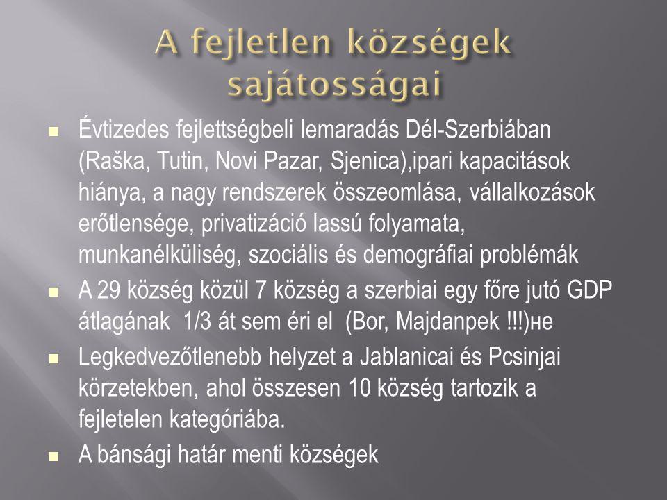 Évtizedes fejlettségbeli lemaradás Dél-Szerbiában (Raška, Tutin, Novi Pazar, Sjenica),ipari kapacitások hiánya, a nagy rendszerek összeomlása, vállalk