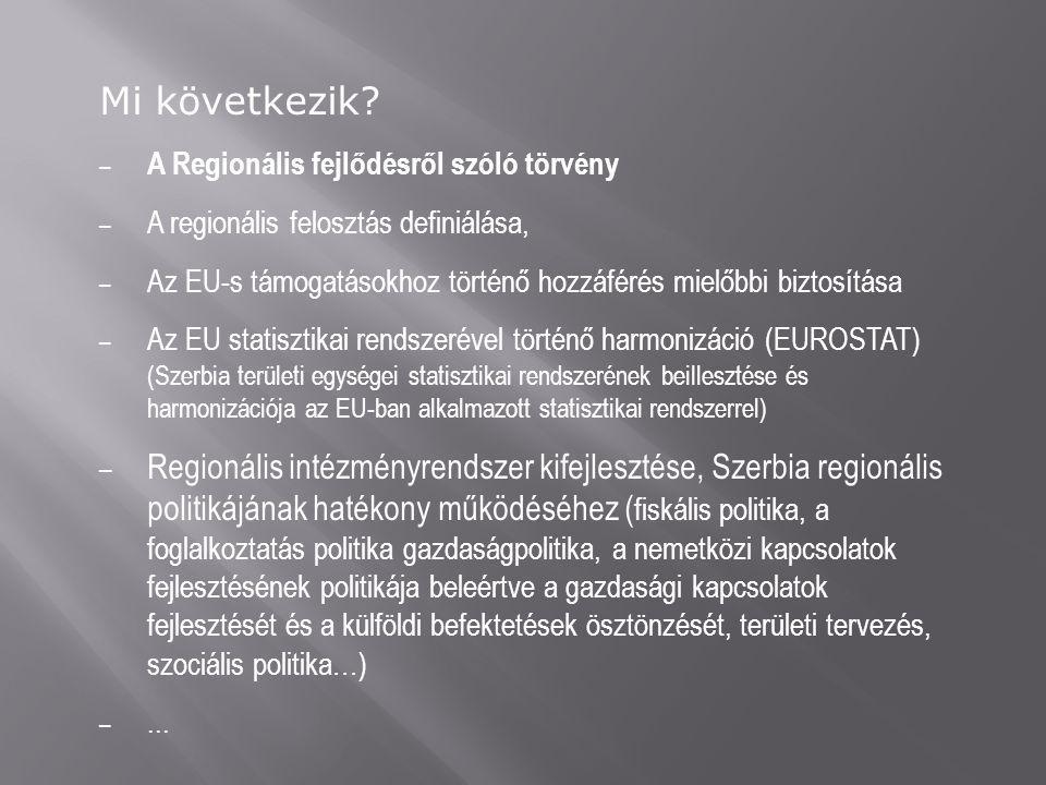 Mi következik? – A Regionális fejlődésről szóló törvény – A regionális felosztás definiálása, – Az EU-s támogatásokhoz történő hozzáférés mielőbbi biz
