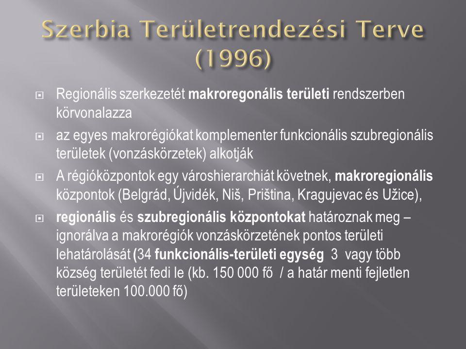  Regionális szerkezetét makroregonális területi rendszerben körvonalazza  az egyes makrorégiókat komplementer funkcionális szubregionális területek (vonzáskörzetek) alkotják  A régióközpontok egy városhierarchiát követnek, makroregionális központok (Belgrád, Újvidék, Niš, Priština, Kragujevac és Užice),  regionális és szubregionális központokat határoznak meg – ignorálva a makrorégiók vonzáskörzetének pontos területi lehatárolását ( 34 funkcionális-területi egység 3 vagy több község területét fedi le (kb.