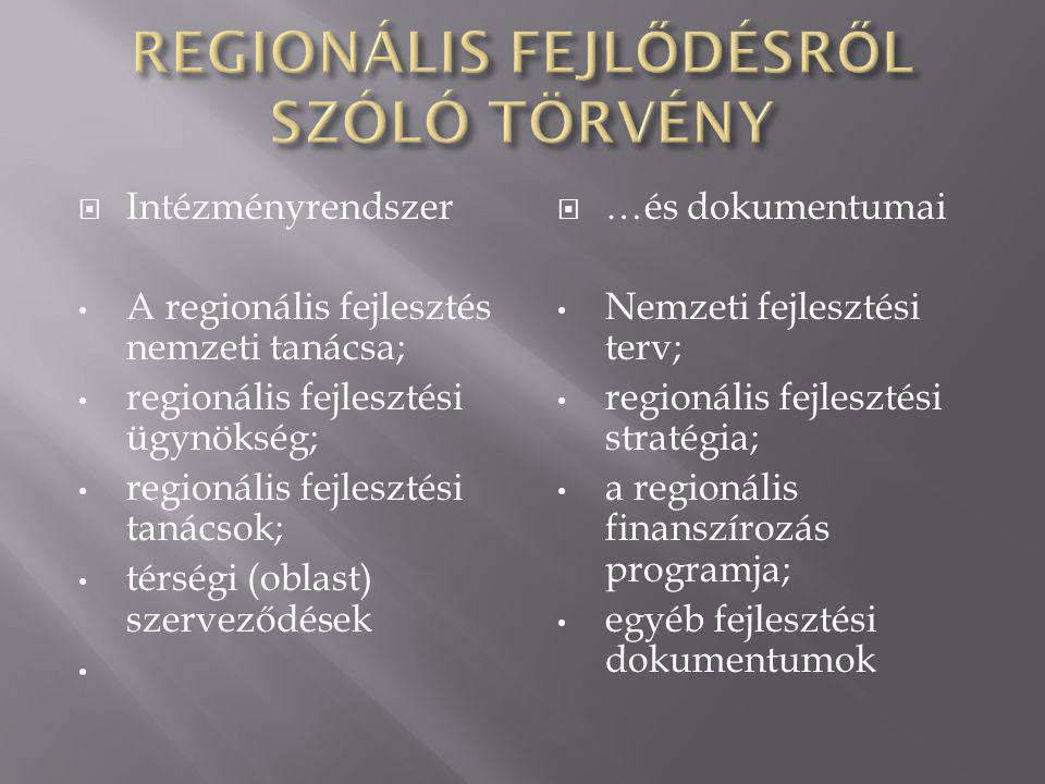  Intézményrendszer A regionális fejlesztés nemzeti tanácsa; regionális fejlesztési ügynökség; regionális fejlesztési tanácsok; térségi (oblast) szerv