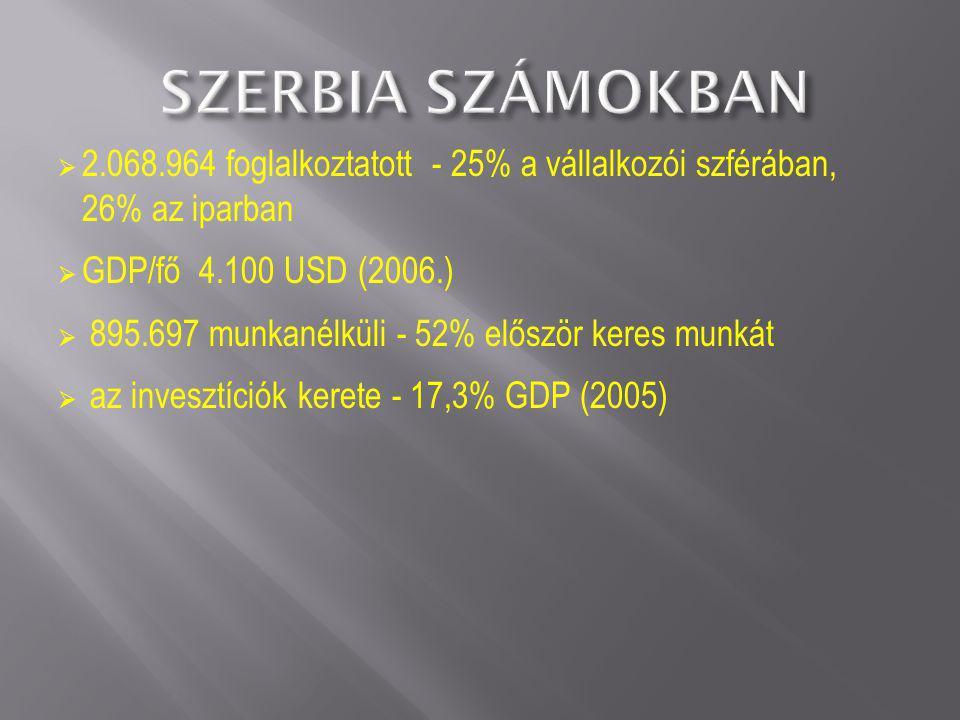 Forrás: Szerbia ter ületfejlesztési stratégiája, 2009-2013-2020 (vitaanyag)