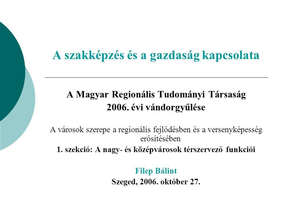 A szakképzés és a gazdaság kapcsolata A Magyar Regionális Tudományi Társaság 2006.