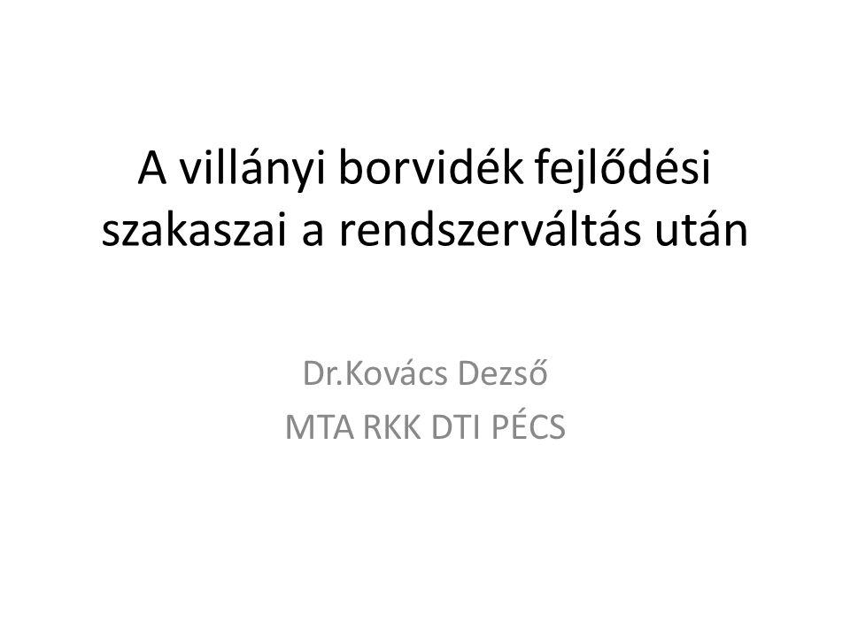 A villányi borvidék fejlődési szakaszai a rendszerváltás után Dr.Kovács Dezső MTA RKK DTI PÉCS