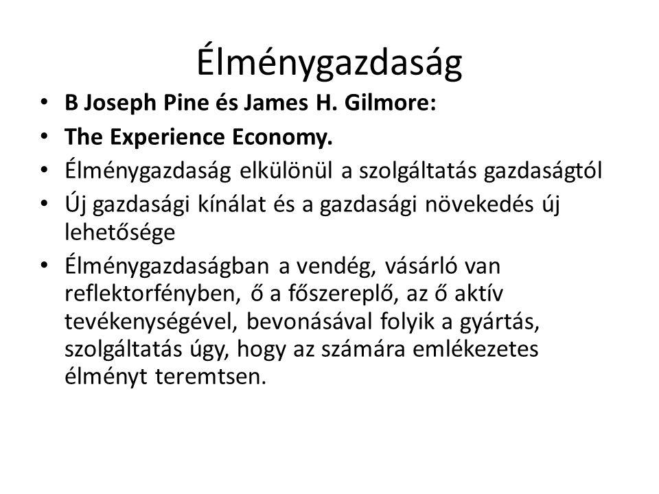 Élménygazdaság B Joseph Pine és James H. Gilmore: The Experience Economy. Élménygazdaság elkülönül a szolgáltatás gazdaságtól Új gazdasági kínálat és