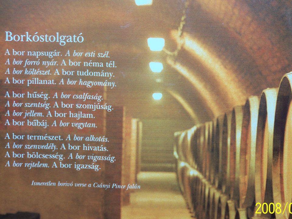A bor néhány jellemzője A bor kisérleti v.