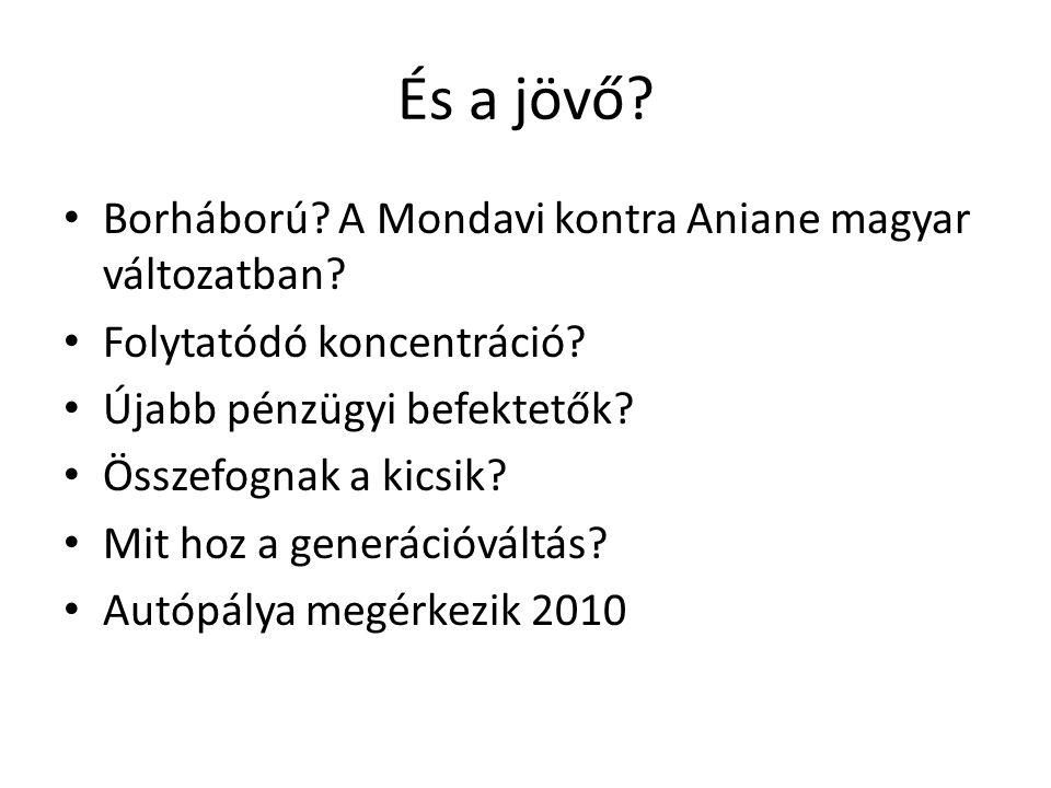 És a jövő? Borháború? A Mondavi kontra Aniane magyar változatban? Folytatódó koncentráció? Újabb pénzügyi befektetők? Összefognak a kicsik? Mit hoz a