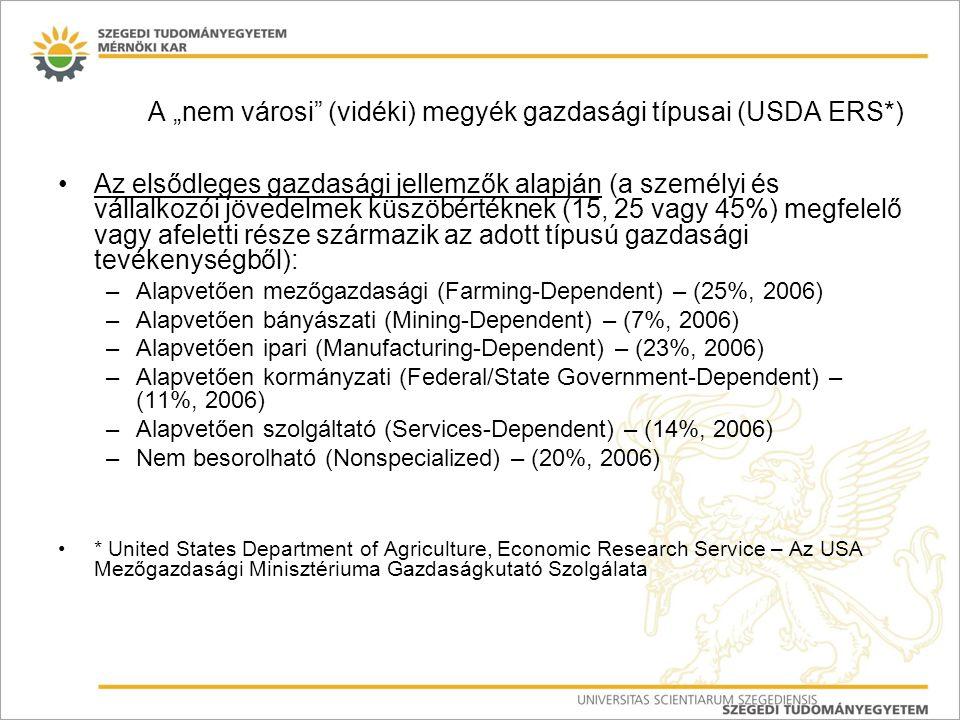 """A """"nem városi"""" (vidéki) megyék gazdasági típusai (USDA ERS*) Az elsődleges gazdasági jellemzők alapján (a személyi és vállalkozói jövedelmek küszöbért"""