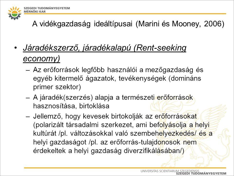 Járadékszerző, járadékalapú (Rent-seeking economy) –Az erőforrások legfőbb használói a mezőgazdaság és egyéb kitermelő ágazatok, tevékenységek (dominá