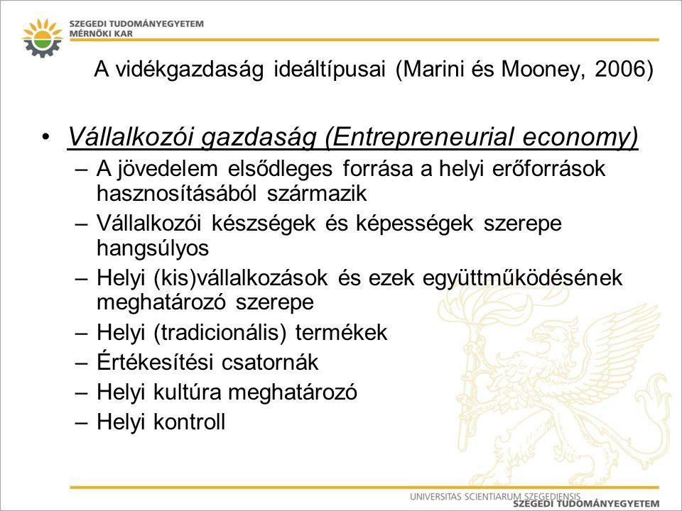 A vidékgazdaság ideáltípusai (Marini és Mooney, 2006) Vállalkozói gazdaság (Entrepreneurial economy) –A jövedelem elsődleges forrása a helyi erőforrás