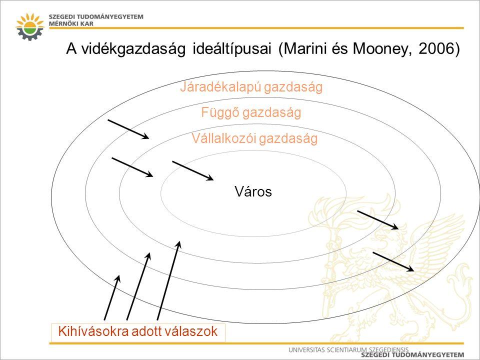 A vidékgazdaság ideáltípusai (Marini és Mooney, 2006) Város Vállalkozói gazdaság Függő gazdaság Járadékalapú gazdaság Kihívásokra adott válaszok