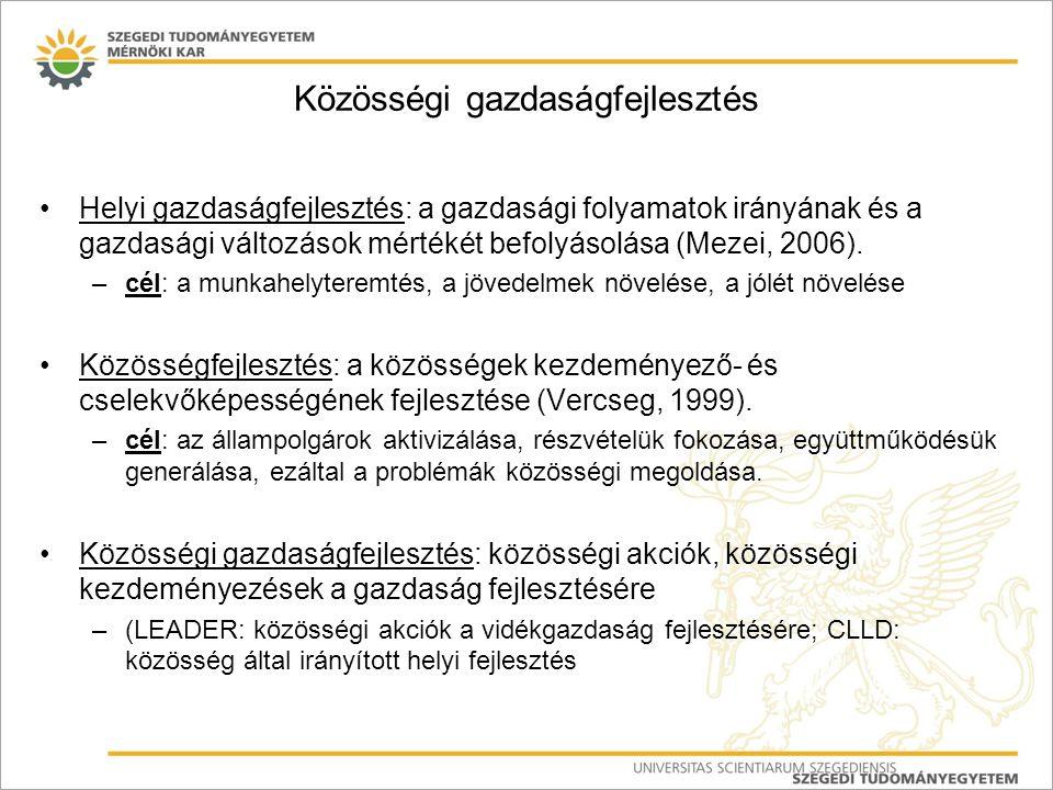 Közösségi gazdaságfejlesztés Helyi gazdaságfejlesztés: a gazdasági folyamatok irányának és a gazdasági változások mértékét befolyásolása (Mezei, 2006)