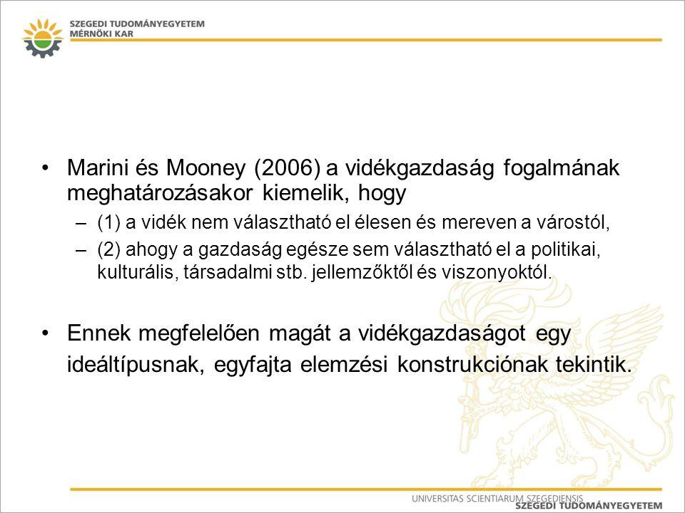 """EDORA* (2011) vidéki térségek gazdaságszerkezeti tipológiája Az EDORA projekt tipológiája a vidéki térségek négy típusát különíti el a gazdasági struktúra szerint (12 indikátor): –1.) agrártérségek – """"Agrarian (GVA, foglalkozatás, AWU EU átlagot meghaladó), –2.) """"szolgáltató vidék – """"Consumption countryside : produktivista  poszt-produktivista átalakulás: a vidék funkcióváltását hangsúlyozza; a vidék fő funkciójává a termelés helyett a szolgáltatás vált, tehát, hogy piaci termékeket és szolgáltatásokat nyújt a városi fogyasztóknak.) döntően turisztikai és rekreációs profilú vidékies térségek, –3.) változatos gazdasági szerkezetű térségek (jelentős ipari szektorral) – """"Diversified (Secondary Sector) és –4.) változatos gazdasági szerkezetű térségek (jelentős szolgáltatói szektorral) – Diversified (Market Services) ."""
