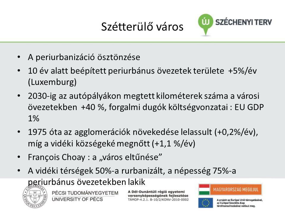 """Szétterülő város A periurbanizáció ösztönzése 10 év alatt beépített periurbánus övezetek területe +5%/év (Luxemburg) 2030-ig az autópályákon megtett kilométerek száma a városi övezetekben +40 %, forgalmi dugók költségvonzatai : EU GDP 1% 1975 óta az agglomerációk növekedése lelassult (+0,2%/év), míg a vidéki községeké megnőtt (+1,1 %/év) François Choay : a """"város eltűnése A vidéki térségek 50%-a rurbanizált, a népesség 75%-a periurbánus övezetekben lakik"""