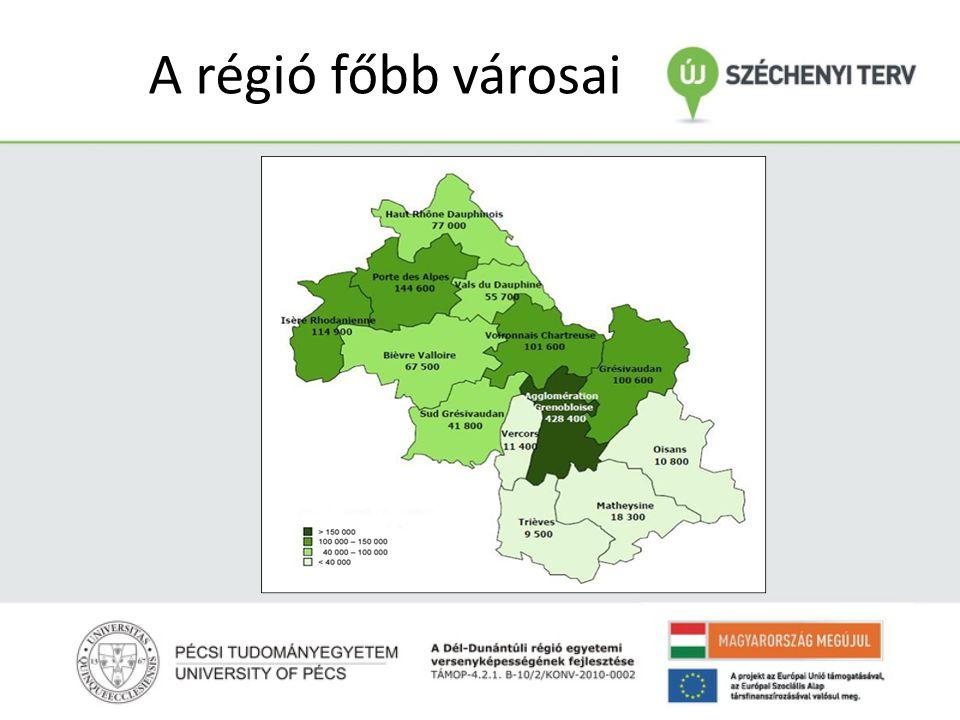A régió főbb városai