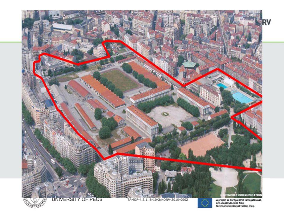 De Bonne ökonegyed (2001-2010) Az üvegházhatású gázok 80%-áért a városi lakosság a felelős 8,5 hektár területű volt laktanya felújítása, 12 öko-épület a de Bonne negyedben, 850 lakás Az első ökonegyed, ahol a kompakt építészeti formák, a puha és elérhető közlekedési módozatok, nagy zöldfelületek domináltak Energetikai önellátást támogató Concerto Sesac kofinanszírozás (€50 mó) szoros együttműködés a partnerekkel: városfejlesztők, építészetek, társulások, lakosok A fragmentációnak gátat szabni, a városközpont határának kiterjesztése a 3.