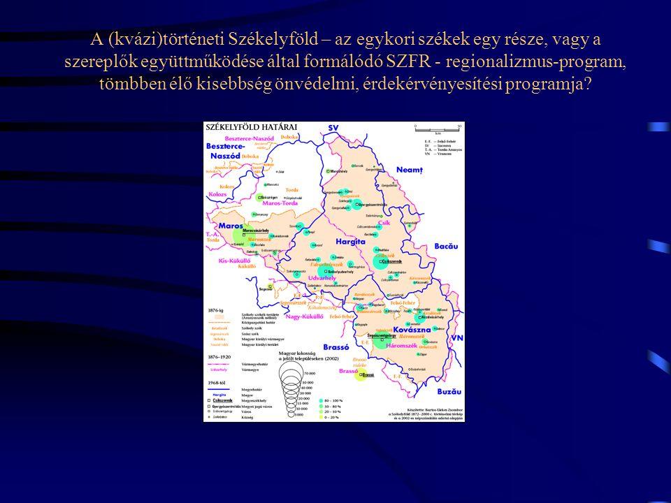 A (kvázi)történeti Székelyföld – az egykori székek egy része, vagy a szereplők együttműködése által formálódó SZFR - regionalizmus-program, tömbben élő kisebbség önvédelmi, érdekérvényesítési programja