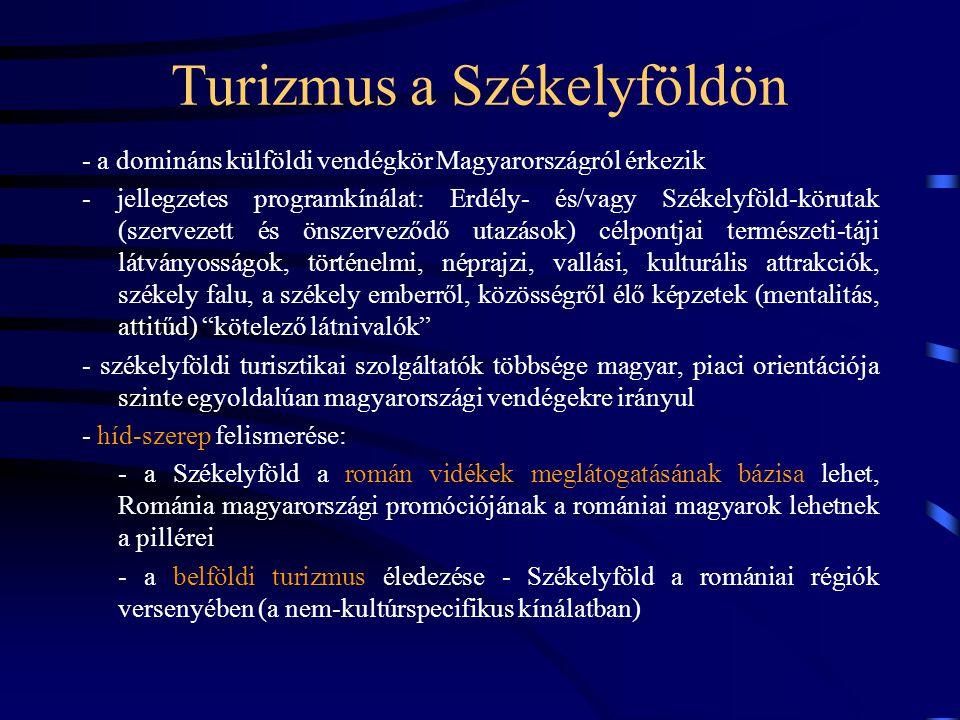 Turizmus a Székelyföldön - a domináns külföldi vendégkör Magyarországról érkezik - jellegzetes programkínálat: Erdély- és/vagy Székelyföld-körutak (szervezett és önszerveződő utazások) célpontjai természeti-táji látványosságok, történelmi, néprajzi, vallási, kulturális attrakciók, székely falu, a székely emberről, közösségről élő képzetek (mentalitás, attitűd) kötelező látnivalók - székelyföldi turisztikai szolgáltatók többsége magyar, piaci orientációja szinte egyoldalúan magyarországi vendégekre irányul - híd-szerep felismerése: - a Székelyföld a román vidékek meglátogatásának bázisa lehet, Románia magyarországi promóciójának a romániai magyarok lehetnek a pillérei - a belföldi turizmus éledezése - Székelyföld a romániai régiók versenyében (a nem-kultúrspecifikus kínálatban)