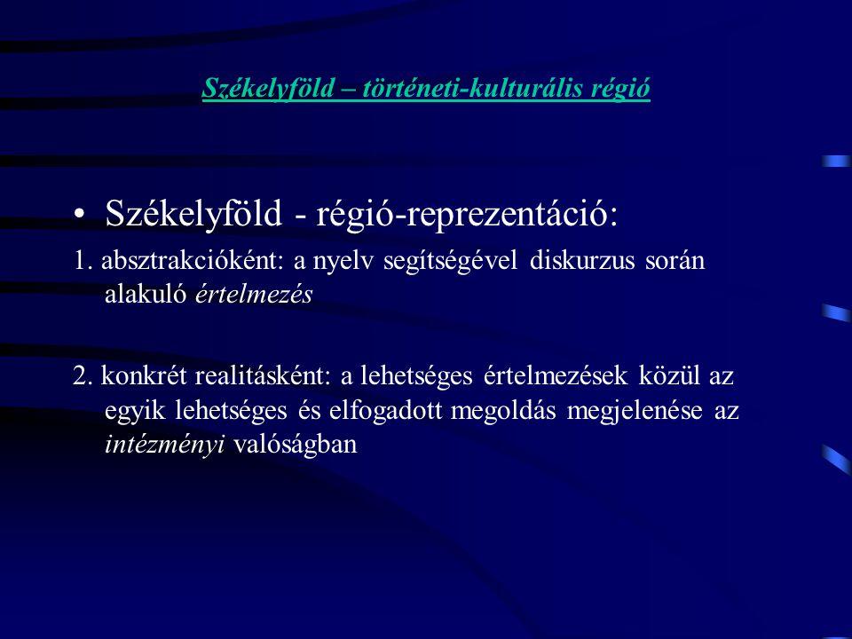 Székelyföld – történeti-kulturális régió Székelyföld - régió-reprezentáció: 1.