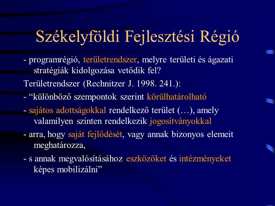 Székelyföldi Fejlesztési Régió - programrégió, területrendszer, melyre területi és ágazati stratégiák kidolgozása vetődik fel.