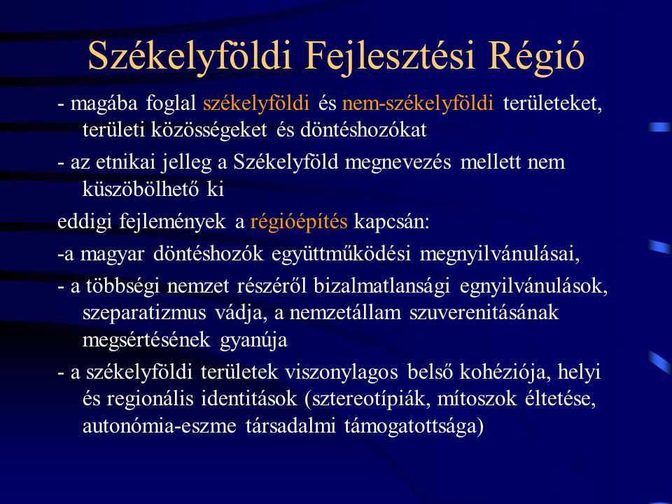 Székelyföldi Fejlesztési Régió - magába foglal székelyföldi és nem-székelyföldi területeket, területi közösségeket és döntéshozókat - az etnikai jelleg a Székelyföld megnevezés mellett nem küszöbölhető ki eddigi fejlemények a régióépítés kapcsán: -a magyar döntéshozók együttműködési megnyilvánulásai, - a többségi nemzet részéről bizalmatlansági egnyilvánulások, szeparatizmus vádja, a nemzetállam szuverenitásának megsértésének gyanúja - a székelyföldi területek viszonylagos belső kohéziója, helyi és regionális identitások (sztereotípiák, mítoszok éltetése, autonómia-eszme társadalmi támogatottsága)