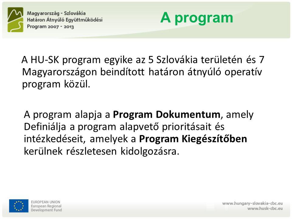 A program A HU-SK program egyike az 5 Szlovákia területén és 7 Magyarországon beindított határon átnyúló operatív program közül. A program alapja a Pr