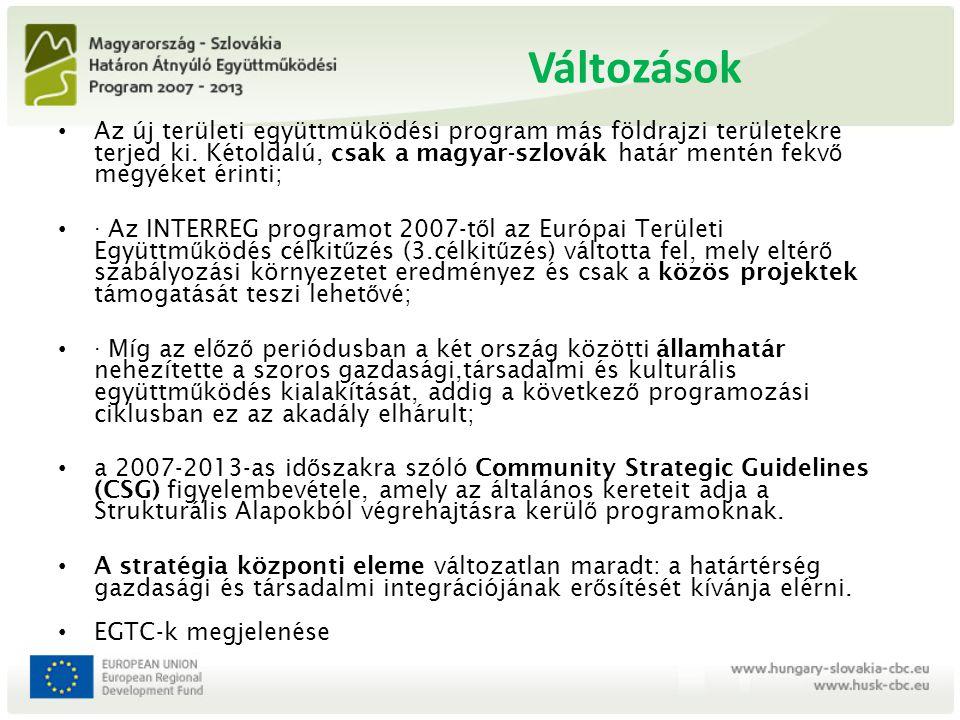 Változások Az új területi együttmüködési program más földrajzi területekre terjed ki. Kétoldalú, csak a magyar-szlovák határ mentén fekv ő megyéket ér