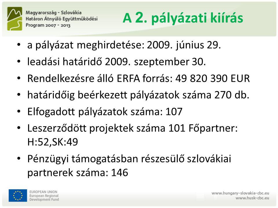 A 2. pályázati kiírás a pályázat meghirdetése: 2009. június 29. leadási határidő 2009. szeptember 30. Rendelkezésre álló ERFA forrás: 49 820 390 EUR h