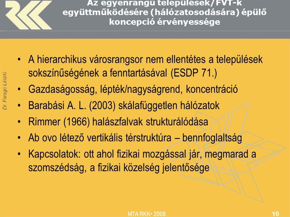 Dr. Faragó László MTA RKK 2008 10 Az egyenrangú települések/FVT-k együttműködésére (hálózatosodására) épülő koncepció érvényessége A hierarchikus váro