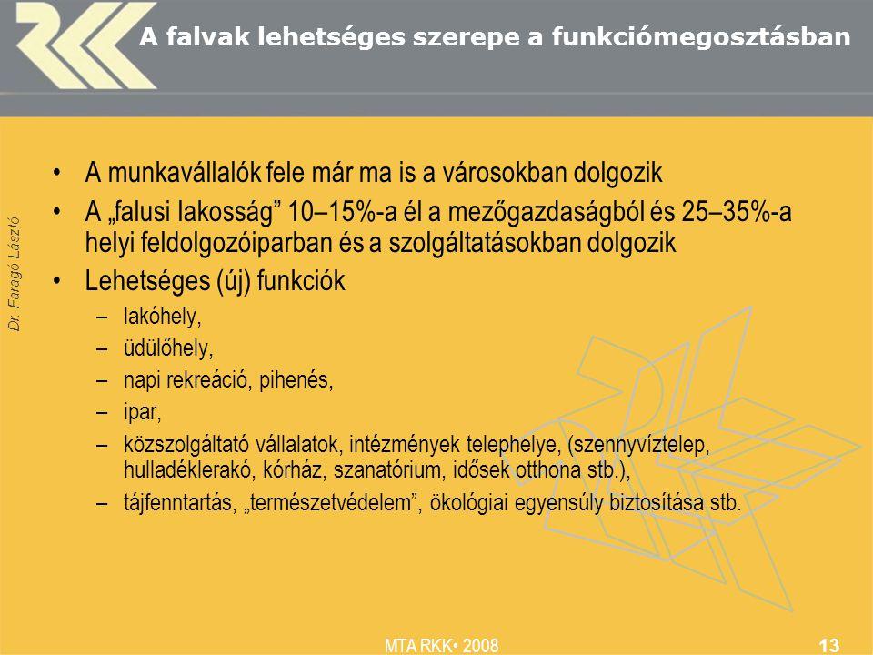 """Dr. Faragó László MTA RKK 2008 13 A falvak lehetséges szerepe a funkciómegosztásban A munkavállalók fele már ma is a városokban dolgozik A """"falusi lak"""