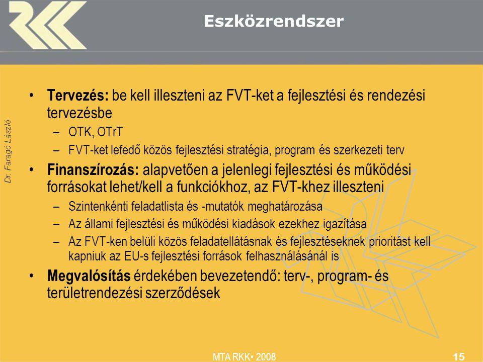 Dr. Faragó László MTA RKK 2008 15 Eszközrendszer Tervezés: be kell illeszteni az FVT-ket a fejlesztési és rendezési tervezésbe –OTK, OTrT –FVT-ket lef