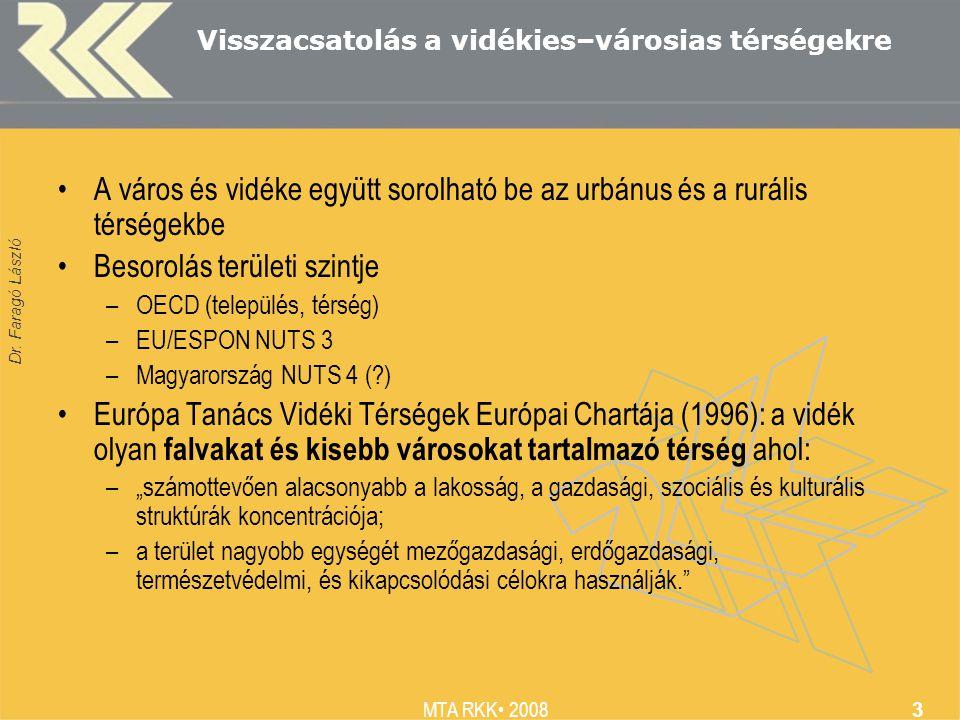 Dr. Faragó László MTA RKK 2008 3 Visszacsatolás a vidékies–városias térségekre A város és vidéke együtt sorolható be az urbánus és a rurális térségekb