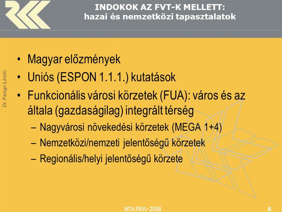 Dr. Faragó László MTA RKK 2008 6 INDOKOK AZ FVT-K MELLETT: hazai és nemzetközi tapasztalatok Magyar előzmények Uniós (ESPON 1.1.1.) kutatások Funkcion