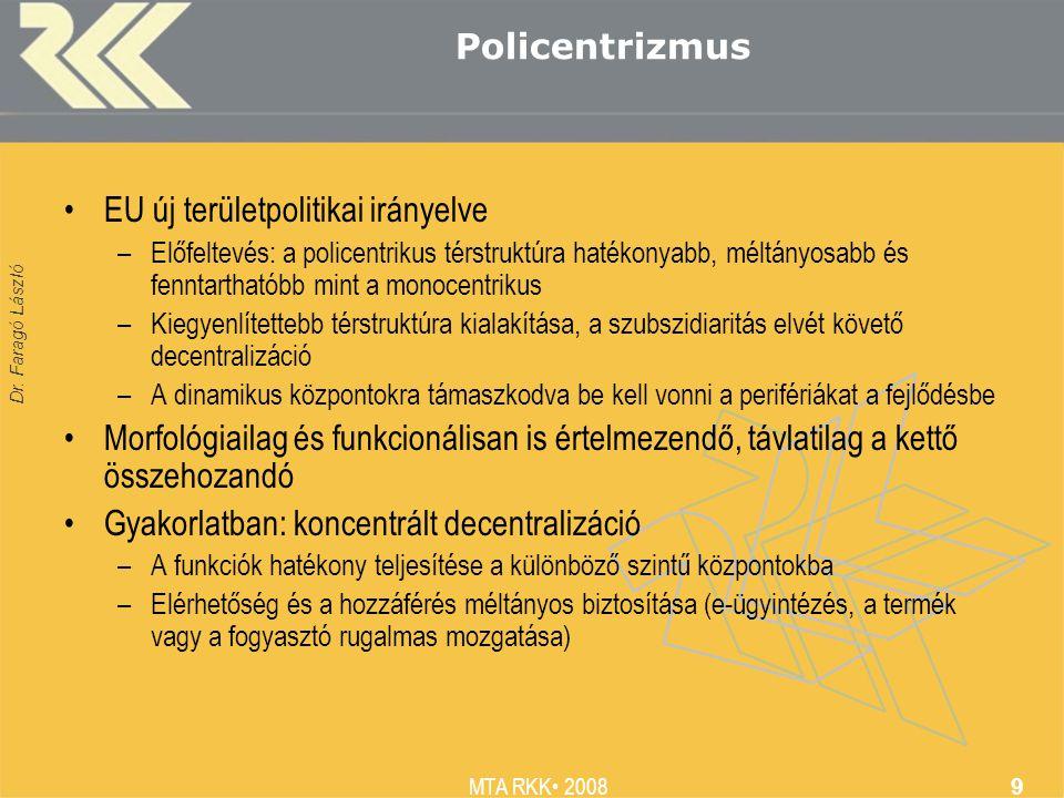 Dr. Faragó László MTA RKK 2008 9 Policentrizmus EU új területpolitikai irányelve –Előfeltevés: a policentrikus térstruktúra hatékonyabb, méltányosabb
