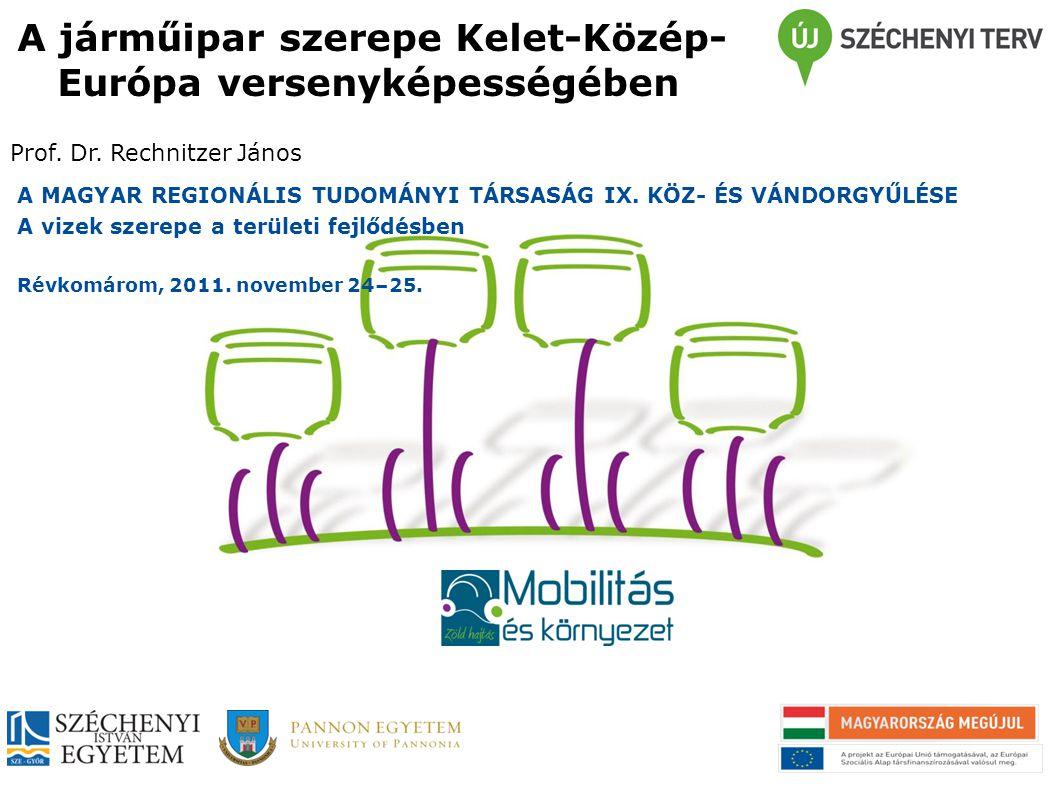 A járműipar szerepe Kelet-Közép- Európa versenyképességében Prof. Dr. Rechnitzer János A MAGYAR REGIONÁLIS TUDOMÁNYI TÁRSASÁG IX. KÖZ- ÉS VÁNDORGYŰLÉS