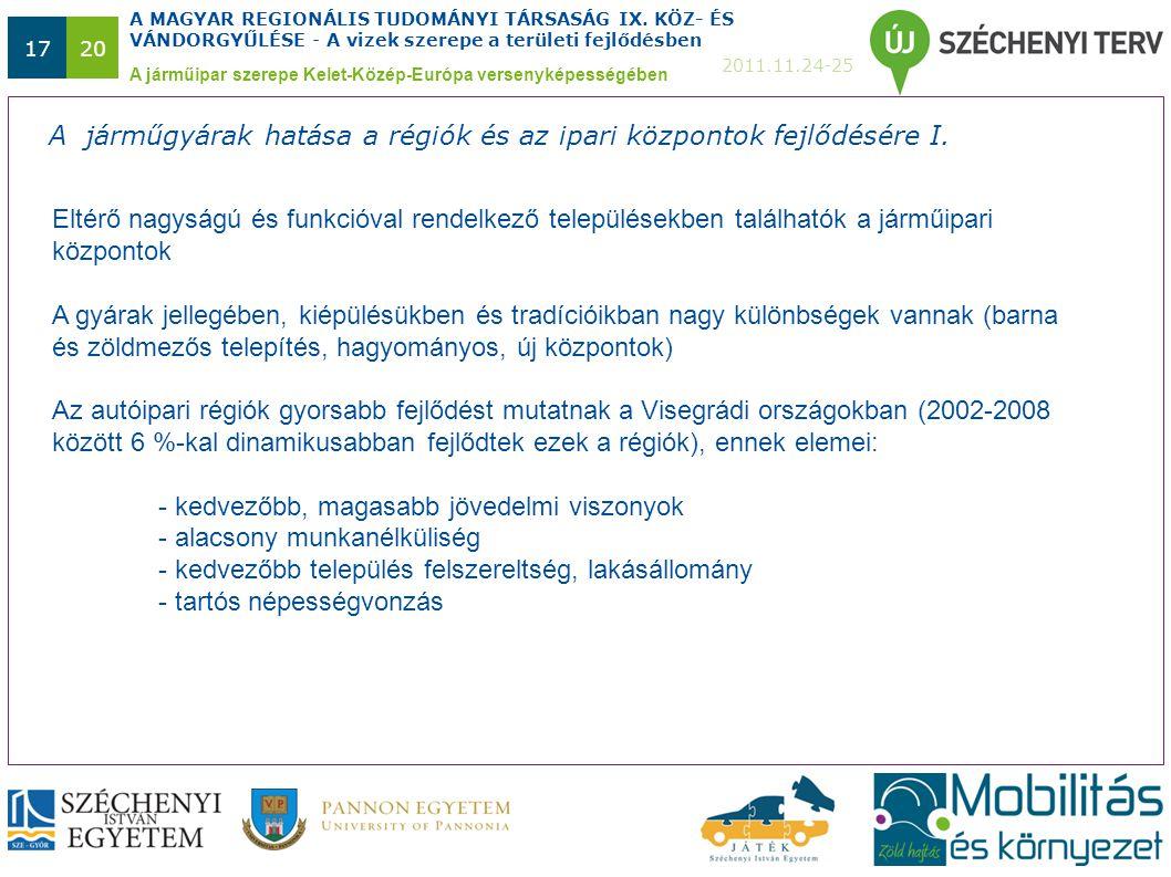 A MAGYAR REGIONÁLIS TUDOMÁNYI TÁRSASÁG IX. KÖZ- ÉS VÁNDORGYŰLÉSE - A vizek szerepe a területi fejlődésben 2011.11.24-25 1720 A járműipar szerepe Kelet