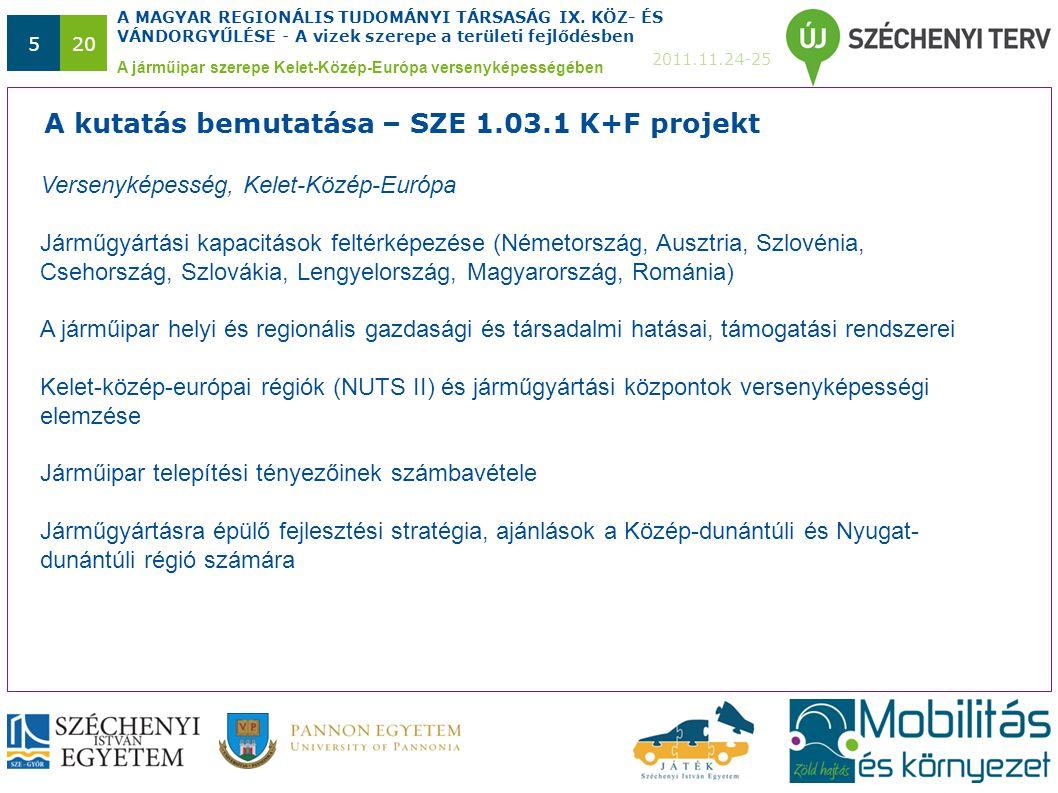 A MAGYAR REGIONÁLIS TUDOMÁNYI TÁRSASÁG IX. KÖZ- ÉS VÁNDORGYŰLÉSE - A vizek szerepe a területi fejlődésben 2011.11.24-25 520 A járműipar szerepe Kelet-