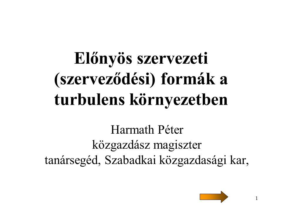 1 Előnyös szervezeti (szerveződési) formák a turbulens környezetben Harmath Péter közgazdász magiszter tanársegéd, Szabadkai közgazdasági kar,