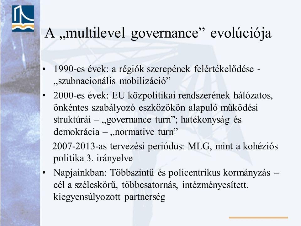 """A """"multilevel governance"""" evolúciója 1990-es évek: a régiók szerepének felértékelődése - """"szubnacionális mobilizáció"""" 2000-es évek: EU közpolitikai re"""