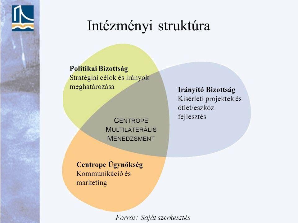 Intézményi struktúra C ENTROPE M ULTILATERÁLIS M ENEDZSMENT Politikai Bizottság Stratégiai célok és irányok meghatározása Irányító Bizottság Kísérleti