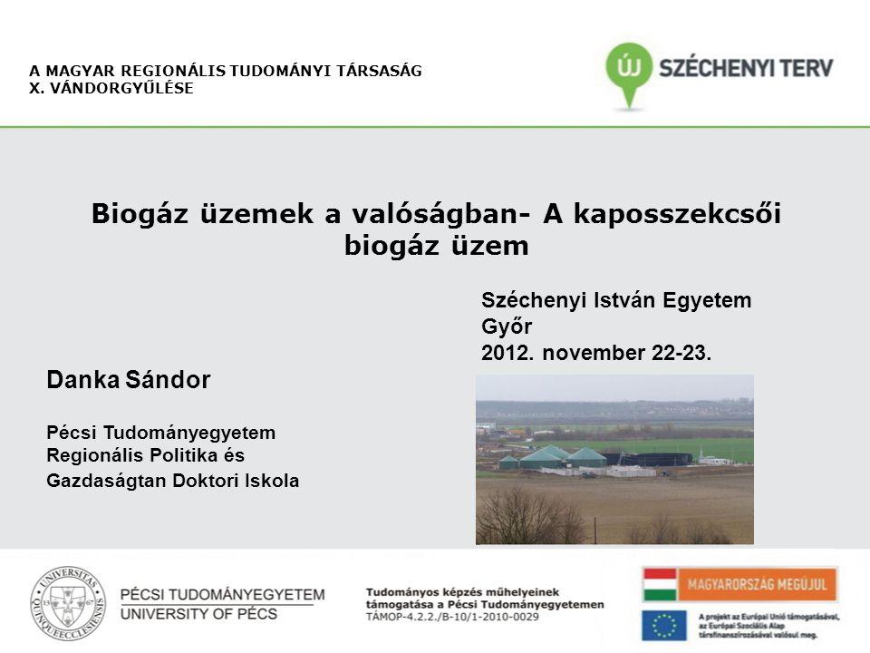 Danka Sándor Pécsi Tudományegyetem MRTT X. Vándorgyűlés Alapanyagok gázhozamai: