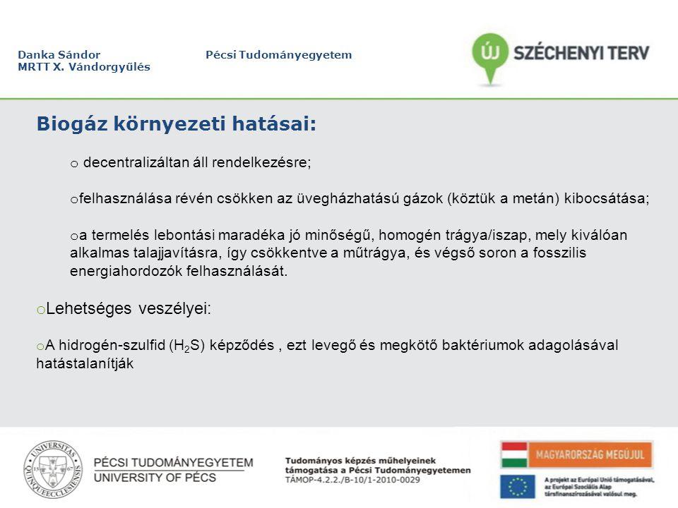 Danka Sándor Pécsi Tudományegyetem MRTT X. Vándorgyűlés Biogáz az EU-ban:
