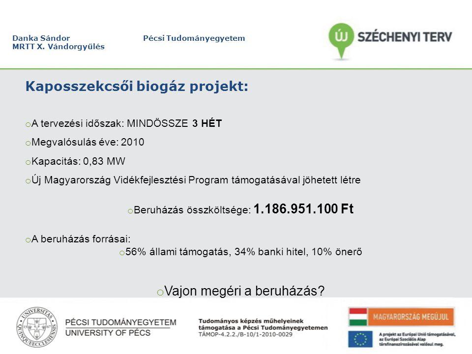 Danka Sándor Pécsi Tudományegyetem MRTT X. Vándorgyűlés Kaposszekcsői biogáz projekt: