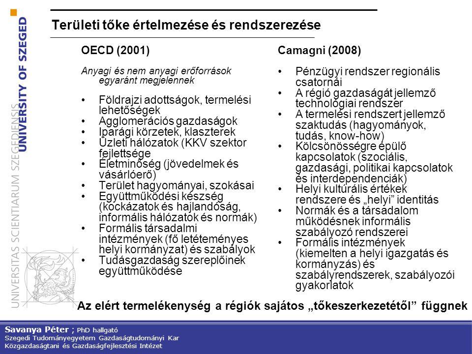 Területi tőke értelmezése és rendszerezése OECD (2001) Anyagi és nem anyagi erőforrások egyaránt megjelennek Földrajzi adottságok, termelési lehetőség