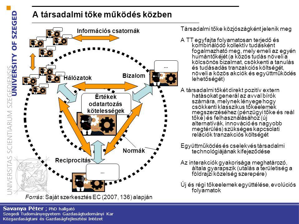 A társadalmi tőke működés közben Társadalmi tőke közjószágként jelenik meg A TT egyfajta folyamatosan terjedő és kombinálódó kollektív tudásként fogal