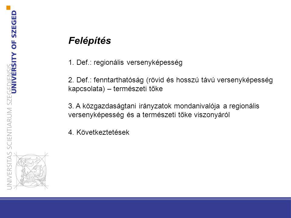 Felépítés 1. Def.: regionális versenyképesség 2.