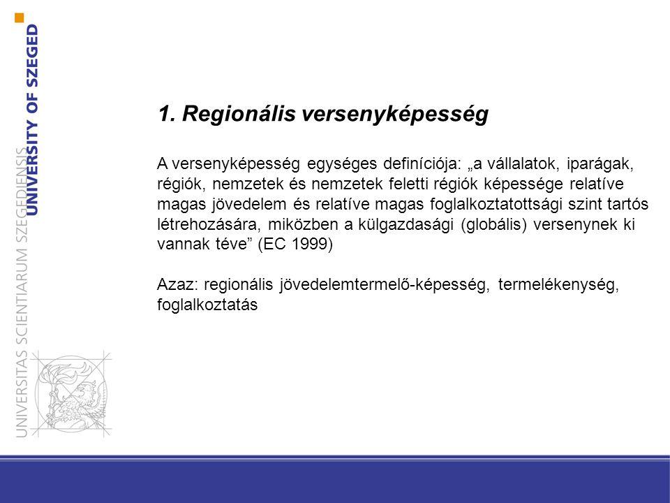 """1. Regionális versenyképesség A versenyképesség egységes definíciója: """"a vállalatok, iparágak, régiók, nemzetek és nemzetek feletti régiók képessége r"""