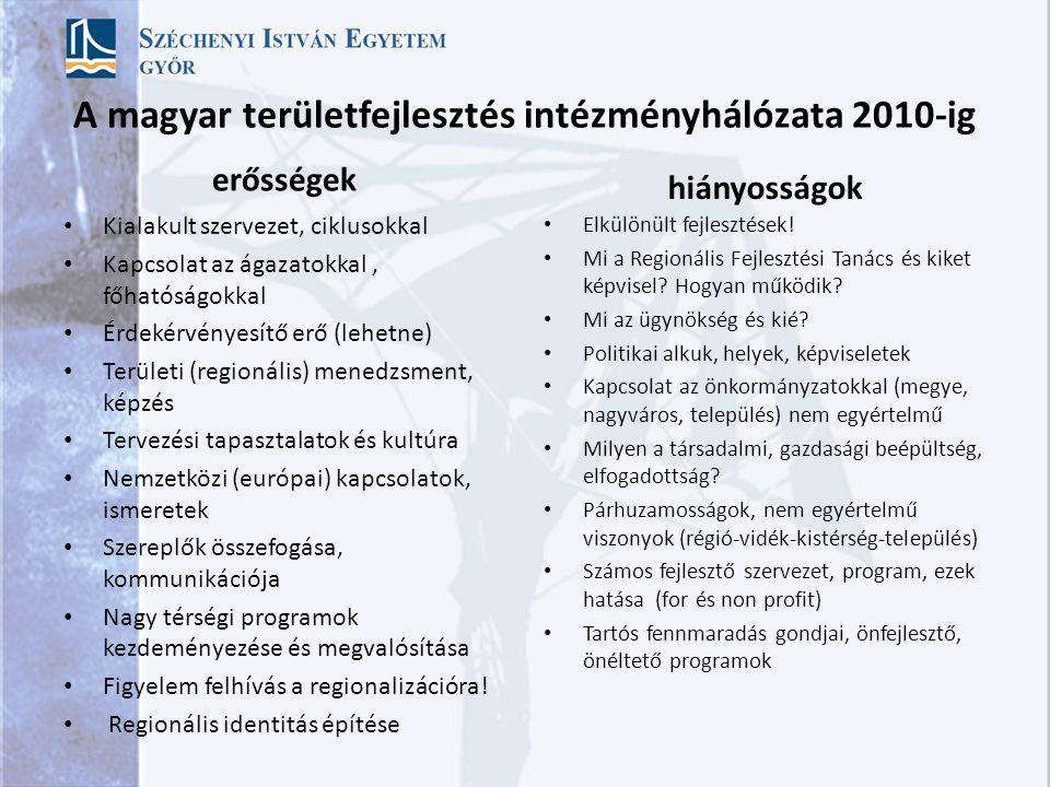 A magyar területfejlesztés intézményhálózata 2010-ig erősségek Kialakult szervezet, ciklusokkal Kapcsolat az ágazatokkal, főhatóságokkal Érdekérvényesítő erő (lehetne) Területi (regionális) menedzsment, képzés Tervezési tapasztalatok és kultúra Nemzetközi (európai) kapcsolatok, ismeretek Szereplők összefogása, kommunikációja Nagy térségi programok kezdeményezése és megvalósítása Figyelem felhívás a regionalizációra.