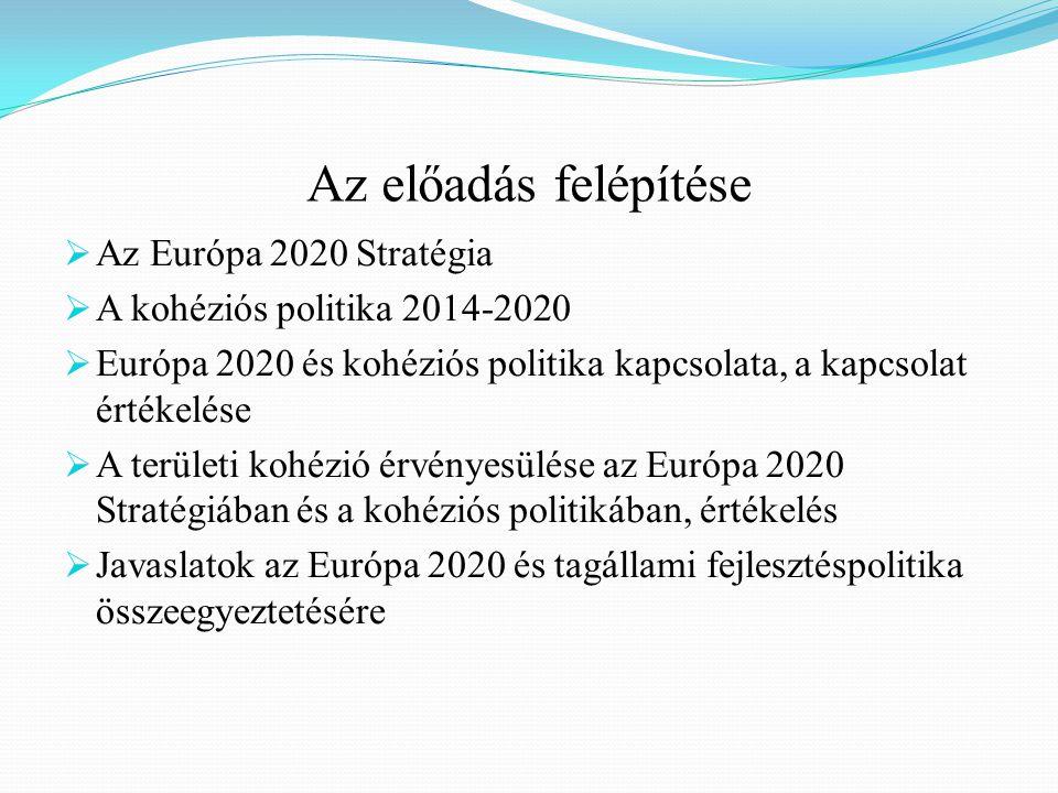 Az előadás felépítése  Az Európa 2020 Stratégia  A kohéziós politika 2014-2020  Európa 2020 és kohéziós politika kapcsolata, a kapcsolat értékelése  A területi kohézió érvényesülése az Európa 2020 Stratégiában és a kohéziós politikában, értékelés  Javaslatok az Európa 2020 és tagállami fejlesztéspolitika összeegyeztetésére