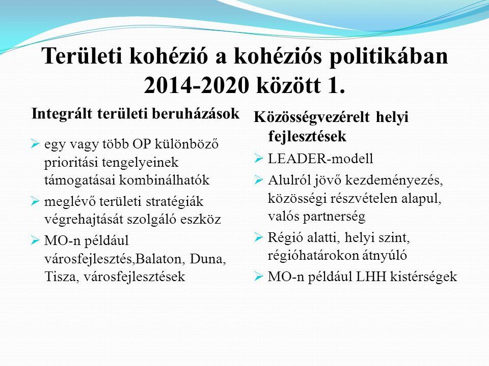 Területi kohézió a kohéziós politikában 2014-2020 között 1.